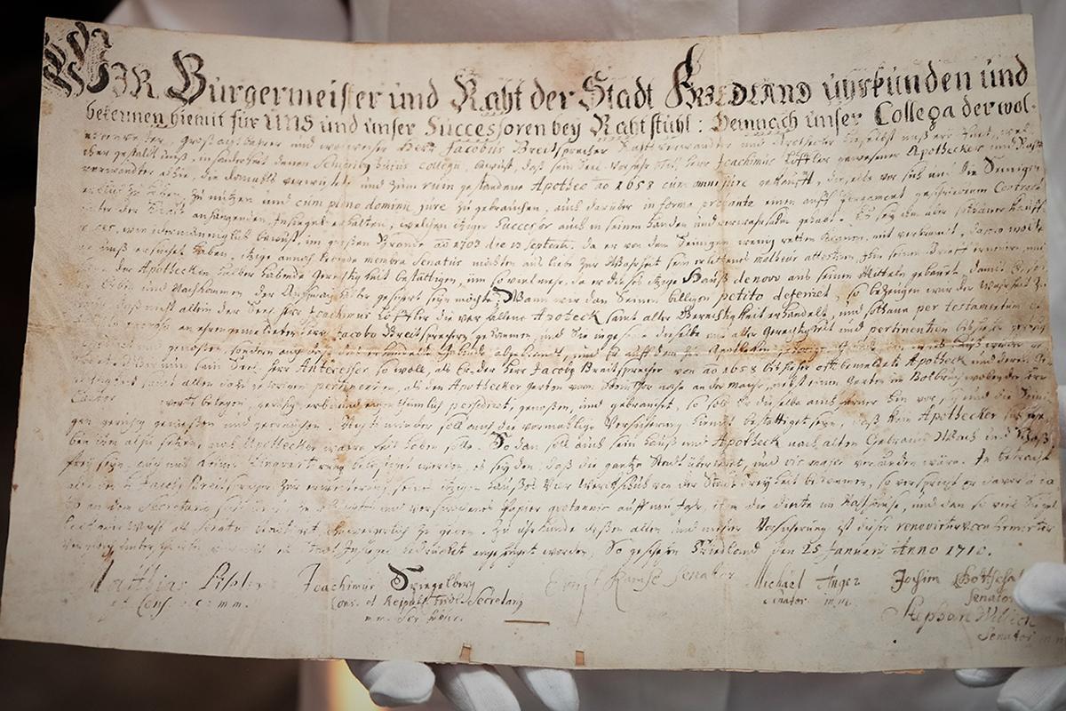 Gründerurkunde aus dem Jahre 1710